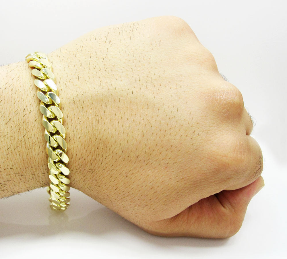 10k yellow gold thick miami bracelet 9 inch 10mm