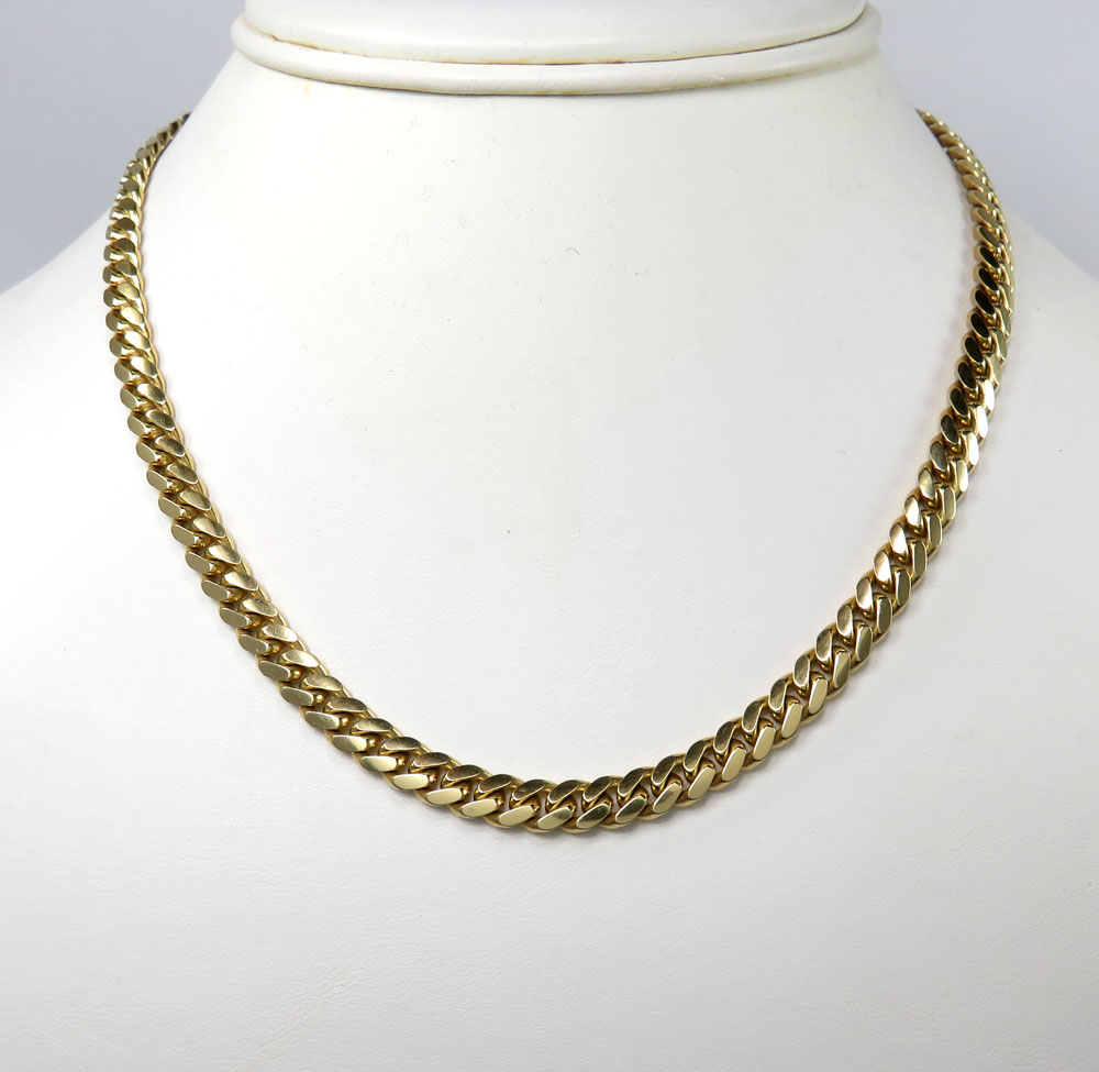 10k yellow gold thick miami chain 20-32 inch 6mm