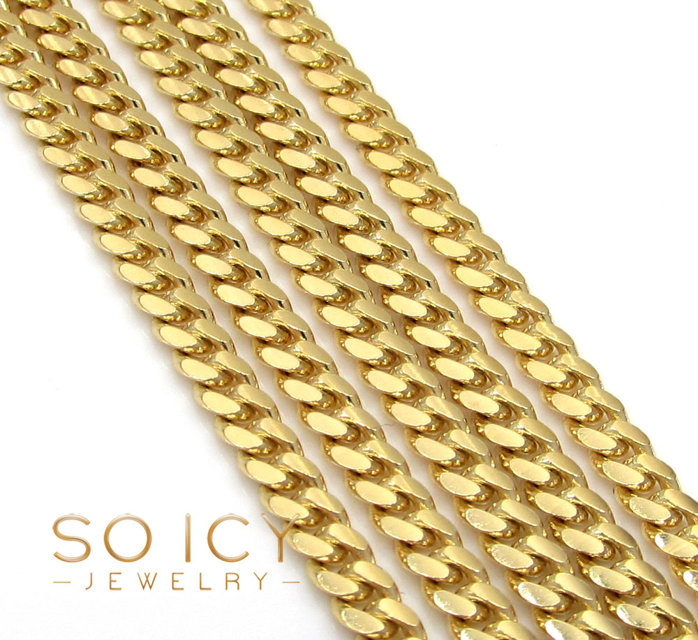 10k yellow gold solid skinny miami chain 16-30