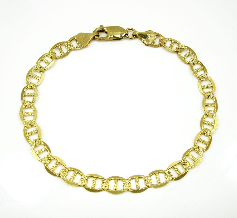 10k yellow gold solid diamond cut mariner bracelet 8 inch 6mm