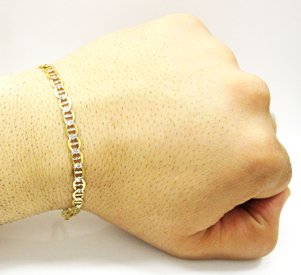 10k yellow gold solid diamond cut mariner bracelet 8.50 inch 5mm