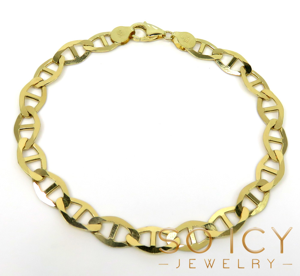 10k yellow gold solid mariner bracelet 8.50 inch 7.5mm