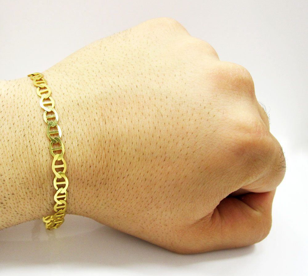 10k yellow gold solid mariner bracelet 8.75 inch 6mm