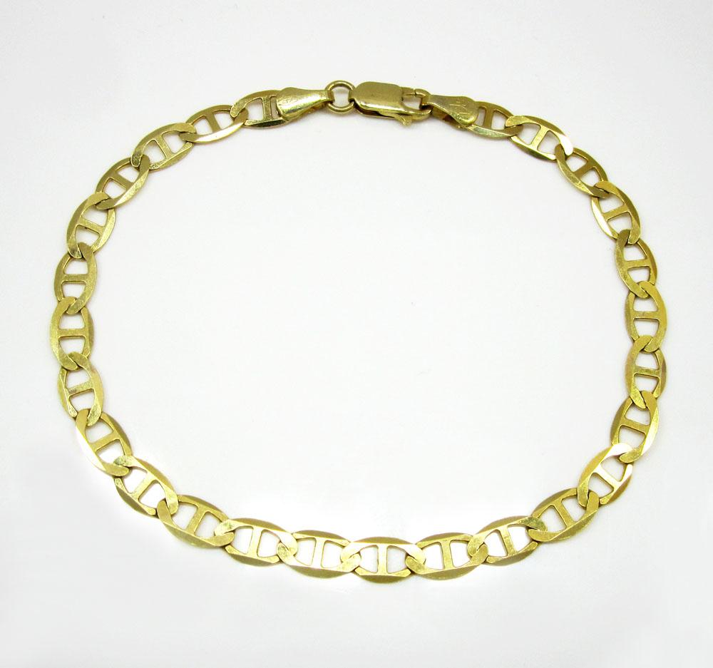 10k yellow gold solid mariner bracelet 8 inch 5.2mm