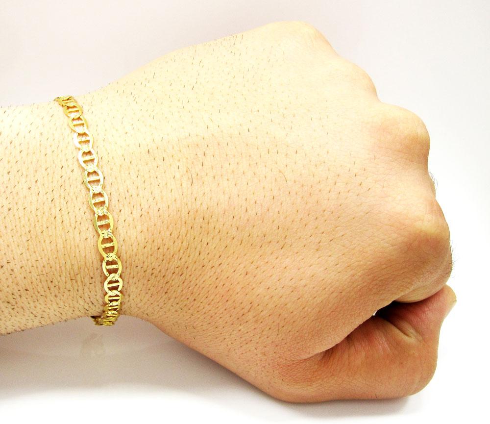 10k yellow gold solid diamond cut mariner bracelet 8.25 inch 5.2mm