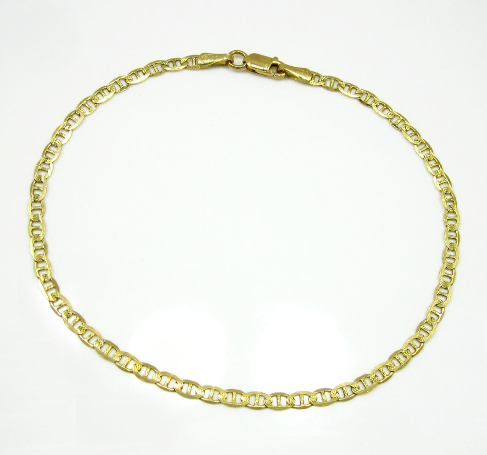 10k yellow gold solid diamond cut mariner bracelet 8.25 inch 2.8mm