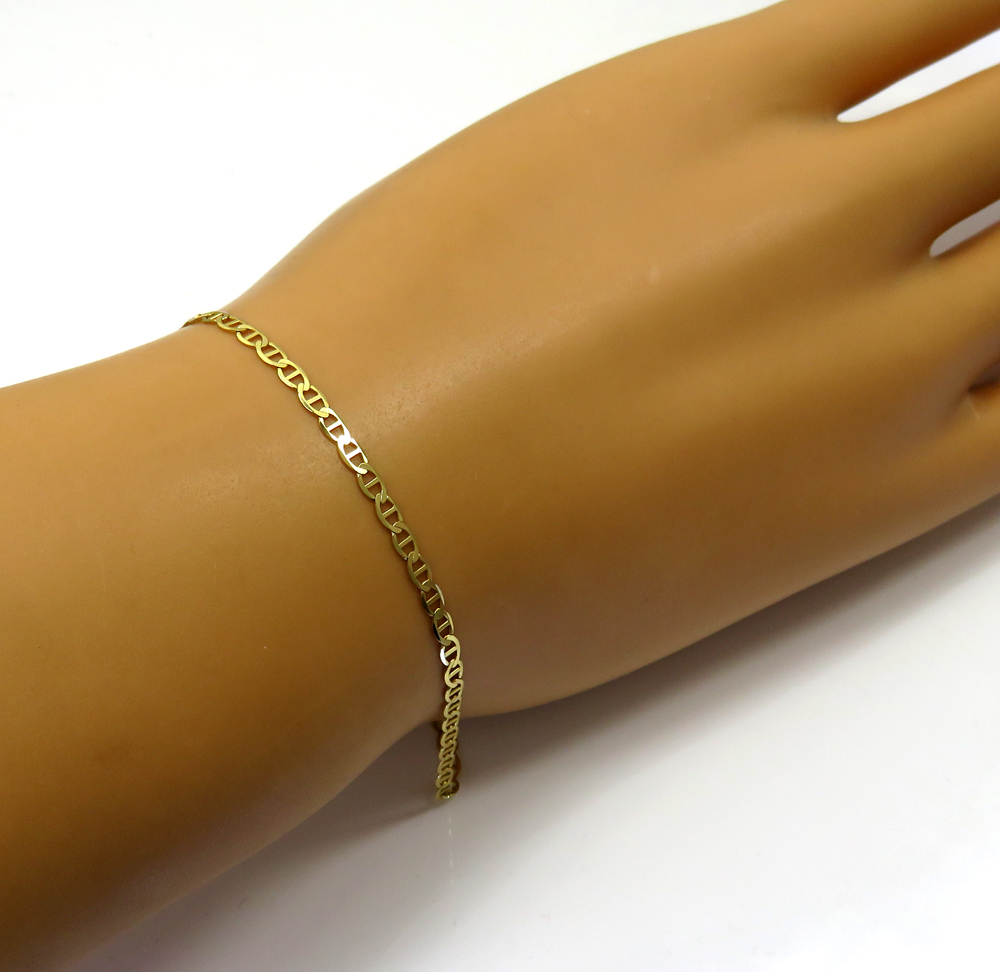 10k yellow gold solid mariner ladies or kids bracelet 7 inch 2mm