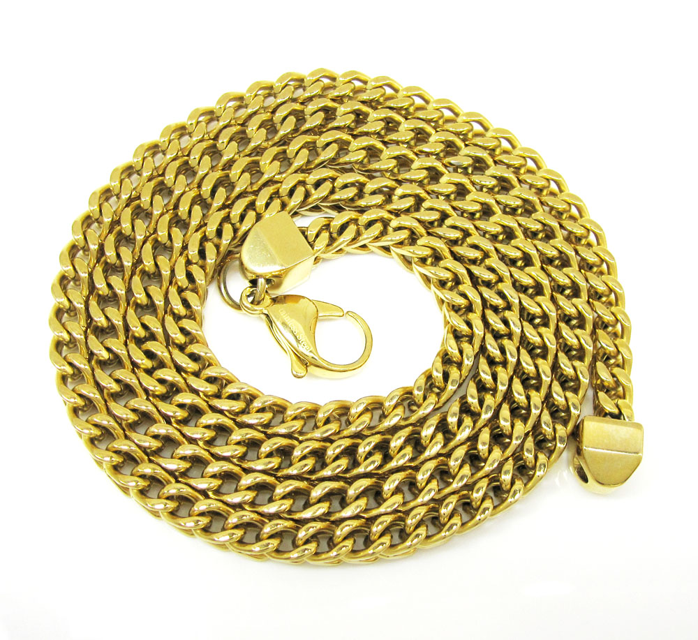 Yellow stainless steel franco link chain 24 inch 5mm