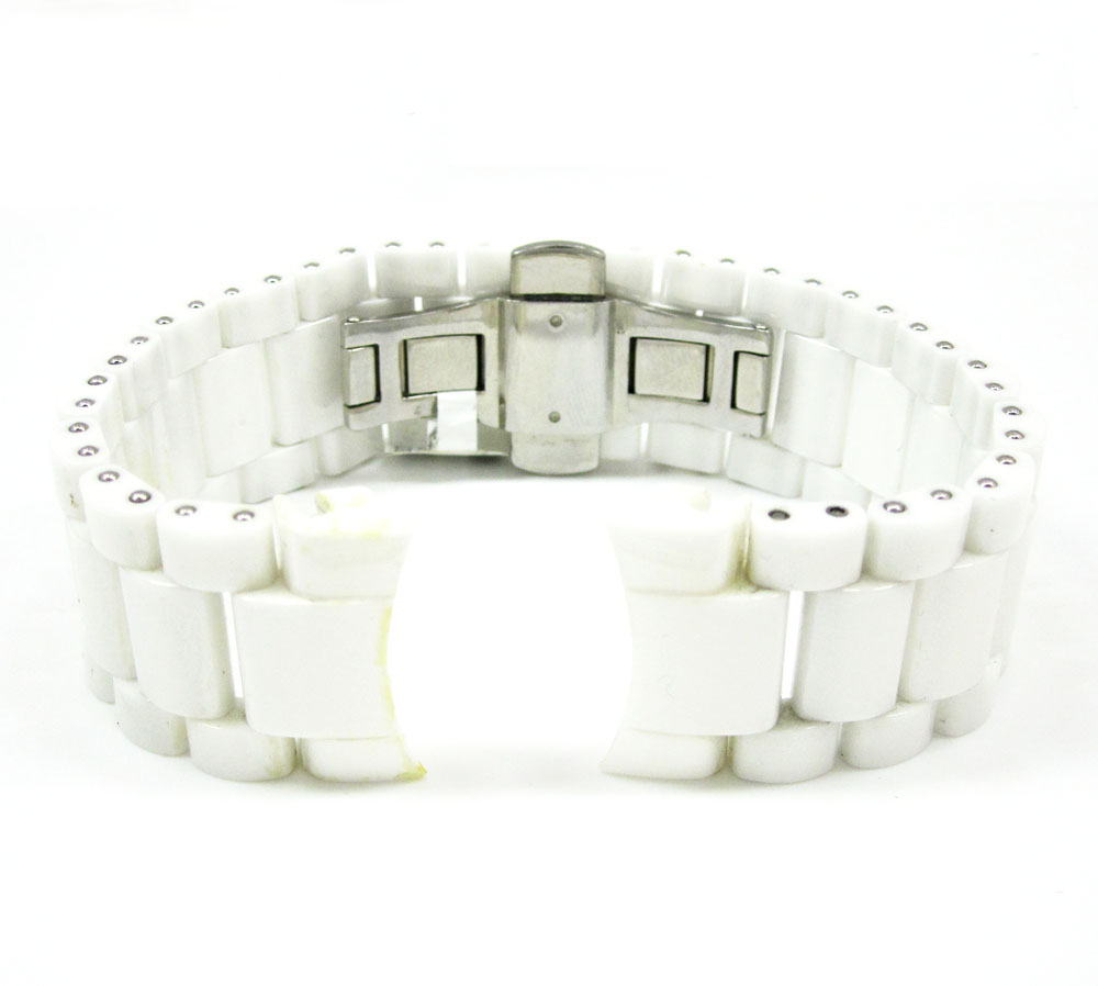 Womens multi link white ceramic kc watch band