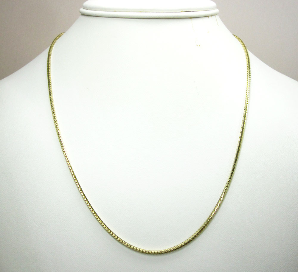 10k yellow gold solid franco link chain 18-22 inch 1.6mm