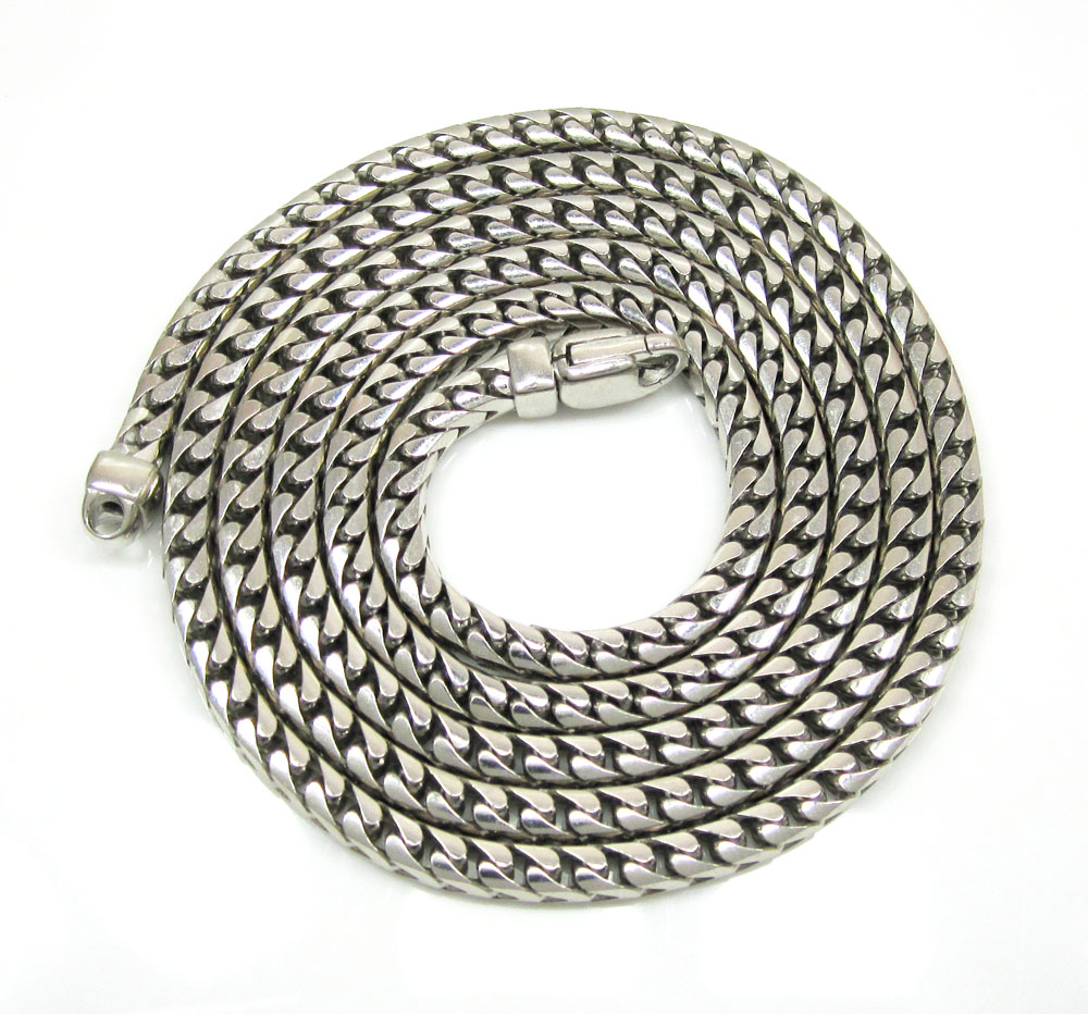 10k white gold solid franco link chain 24-30 inch 3.3mm