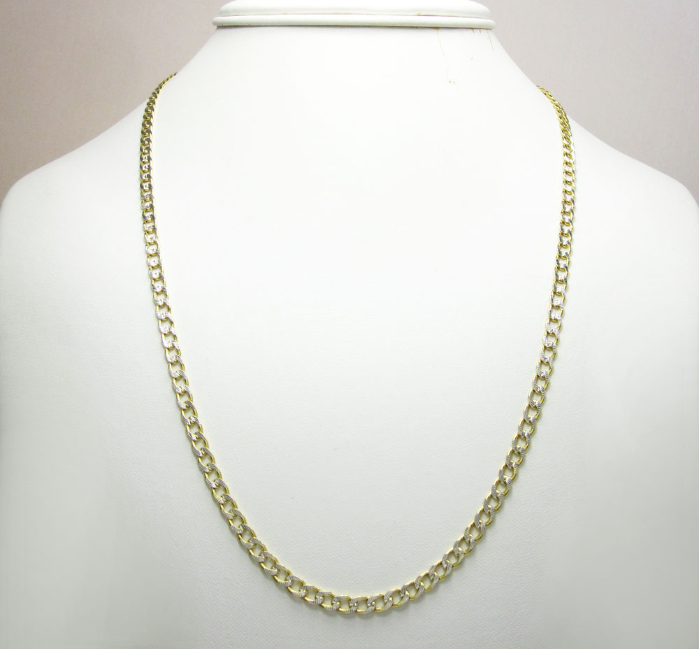 10k yellow gold hollow diamond cut cuban link chain 24 inch 4mm