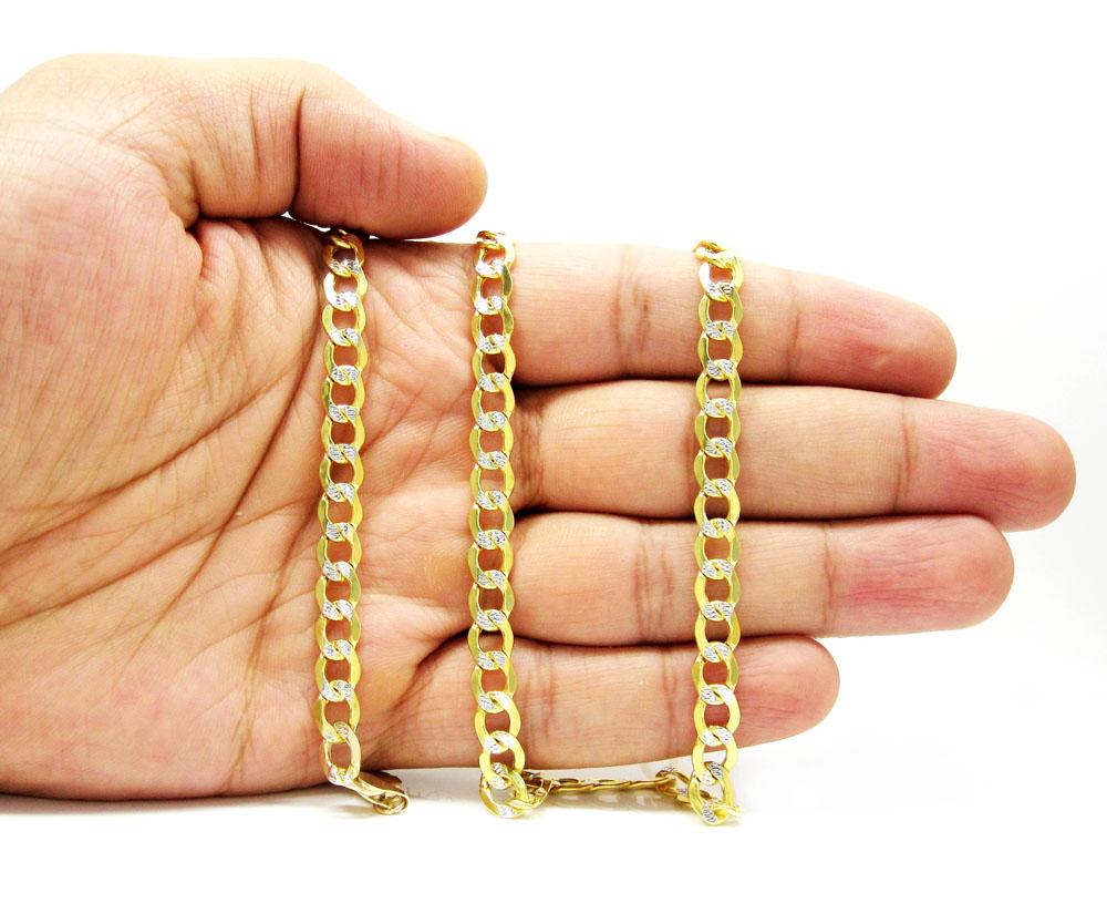 10k yellow gold hollow diamond cut cuban link chain 24-26 inch 6.5mm