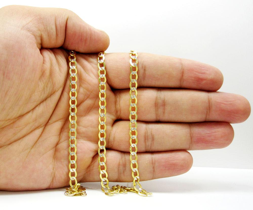 10k yellow gold hollow diamond cut cuban link chain 22-26 inch 4.8mm