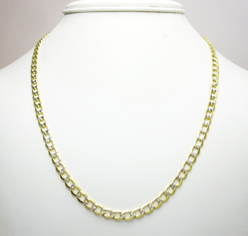 10k yellow gold hollow diamond cut cuban link chain 22-26 inch 4.8mm