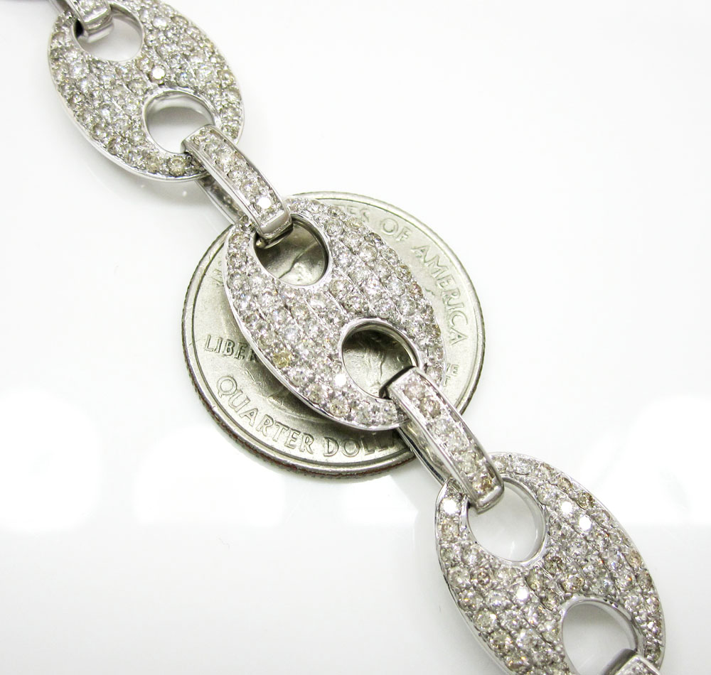 14k solid white gold anchor diamond chain 27.36ct