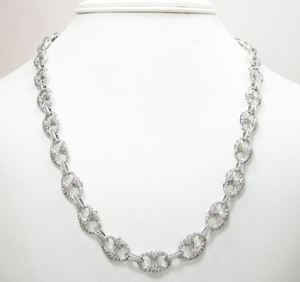 14k solid white gold anchor diamond chain 14.39ct