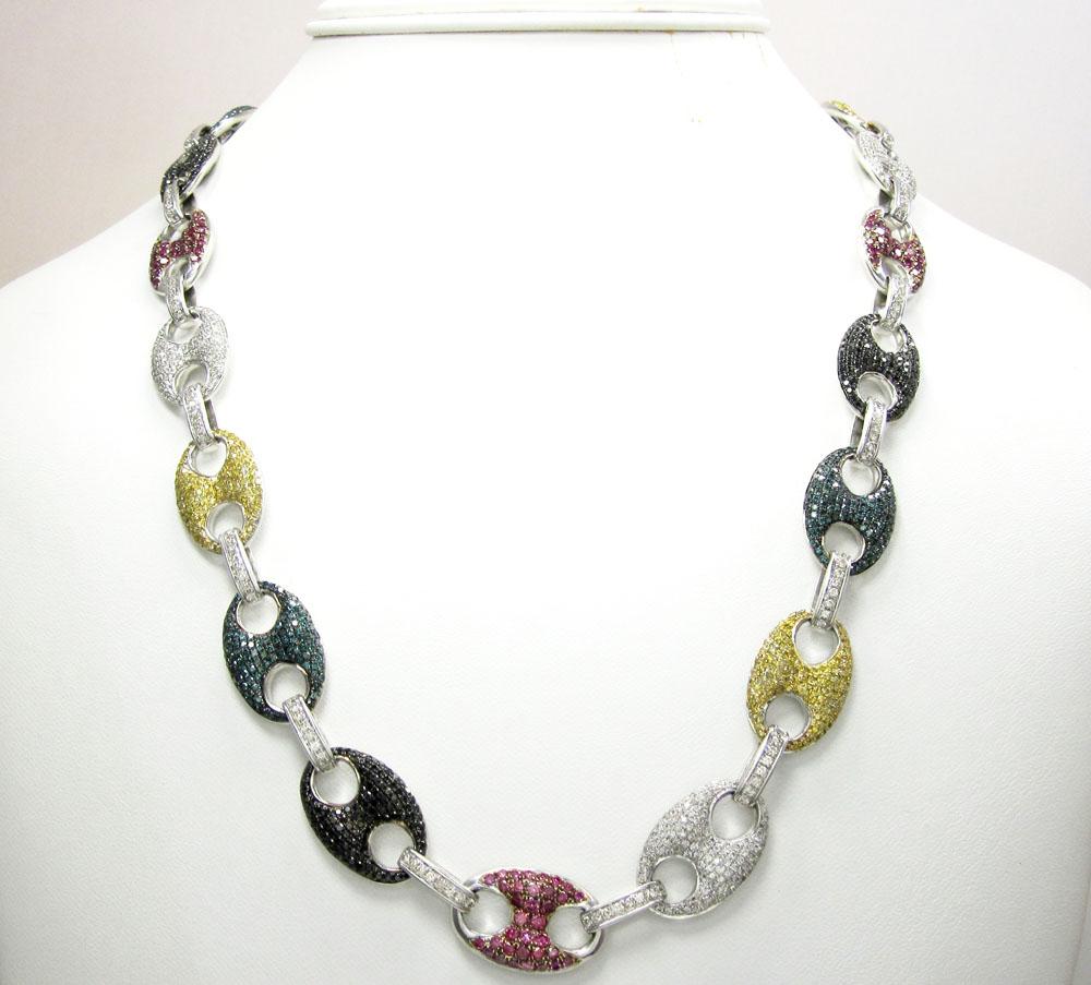 14k solid white gold multi color diamond anchor chain 14 39ct