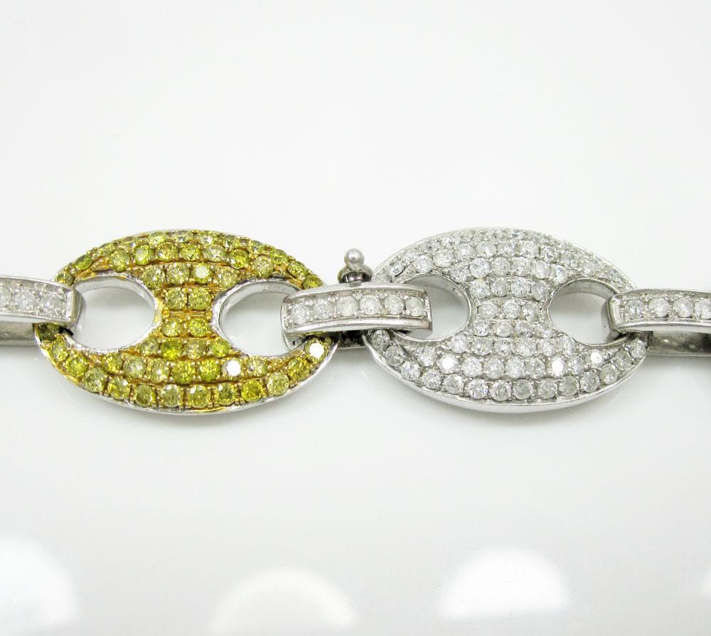 14k solid white gold multi color diamond anchor chain 28.14ct