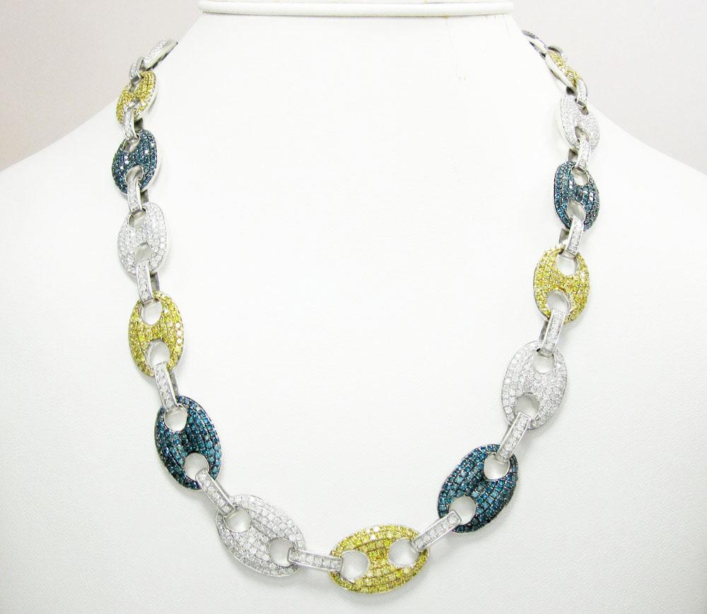 14k solid white gold multi color diamond anchor chain 28 14ct