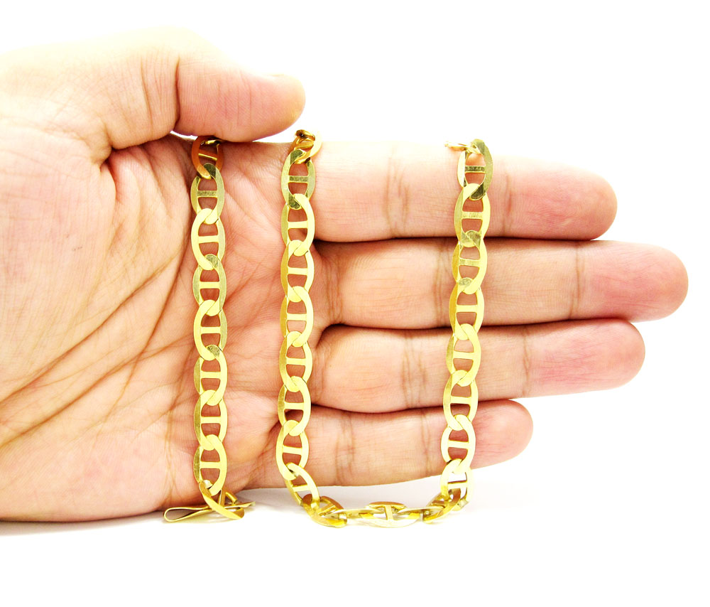 10k yellow gold solid thick mariner link chain 20-26 inch 7.5mm