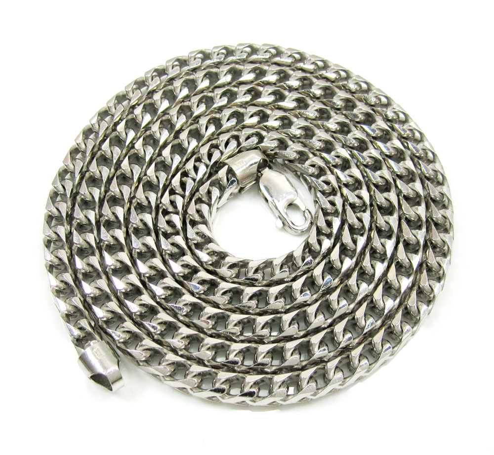 10k white gold smooth cut franco link chain 30-40 inch 4.7mm