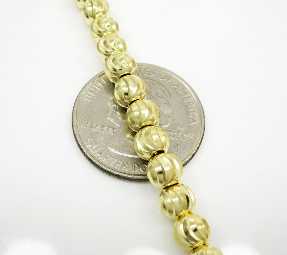 10k yellow gold moon cut bead link chain 27 inch 6mm