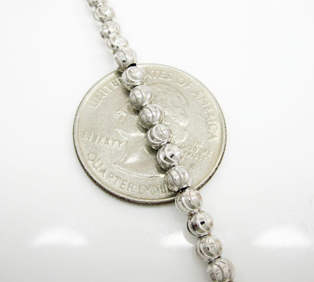 10k white gold moon cut bead link chain 26-36 inch 4mm
