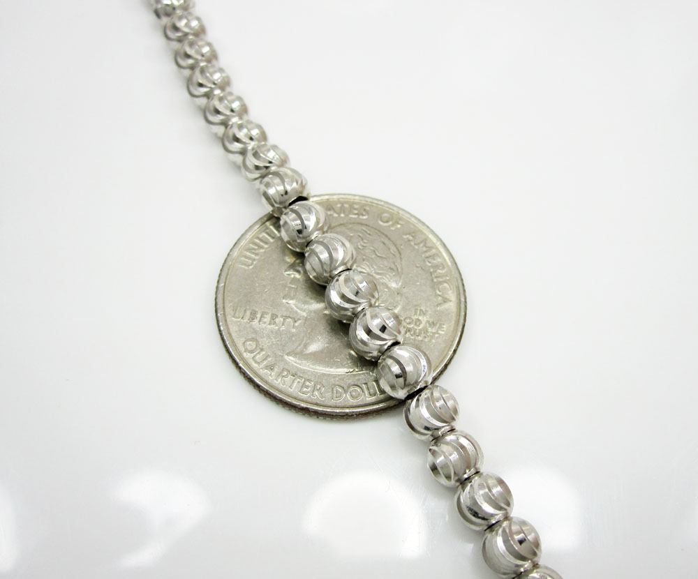 10k white gold moon cut bead link chain 26-30 inch 5mm