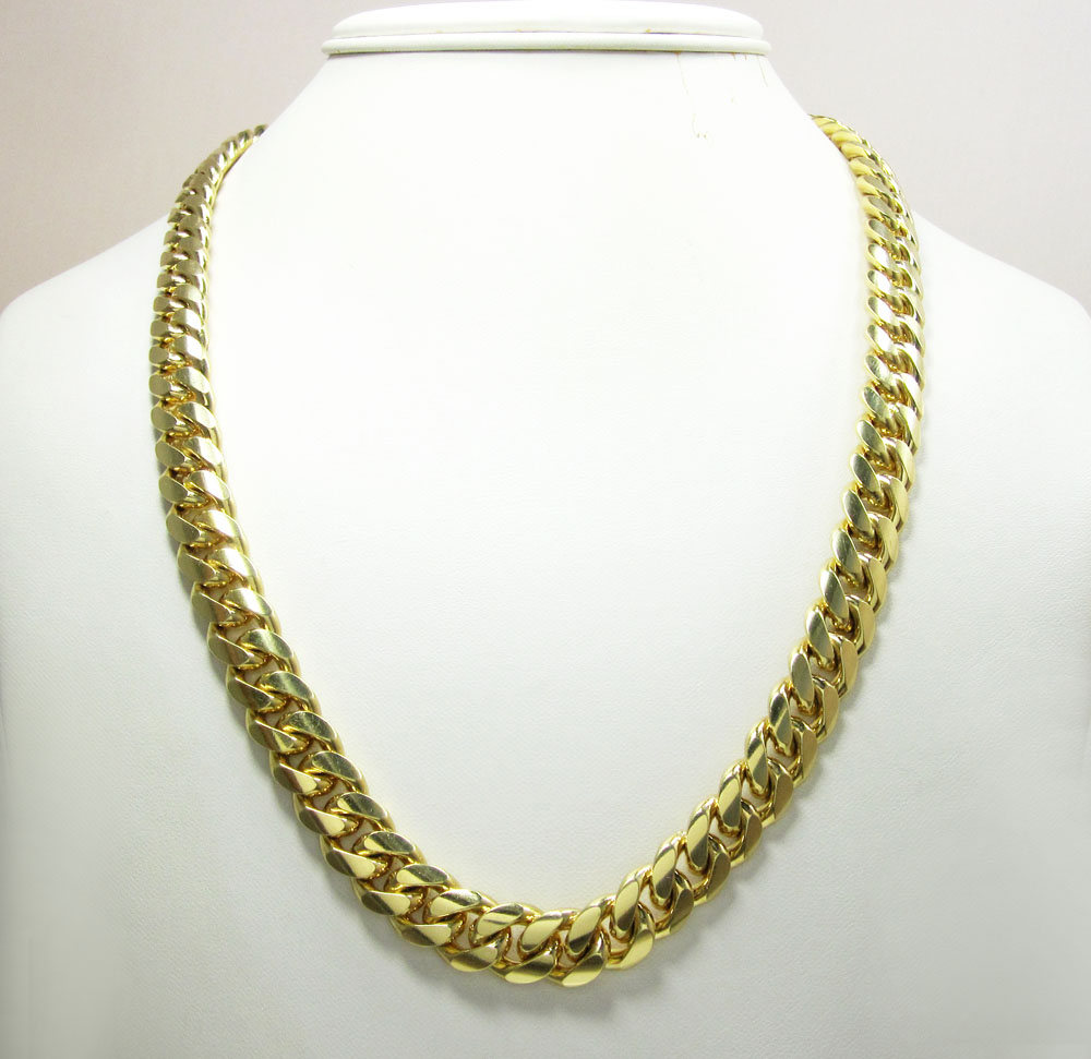 10k yellow gold thick miami link chain 26-34 inch 11.5mm