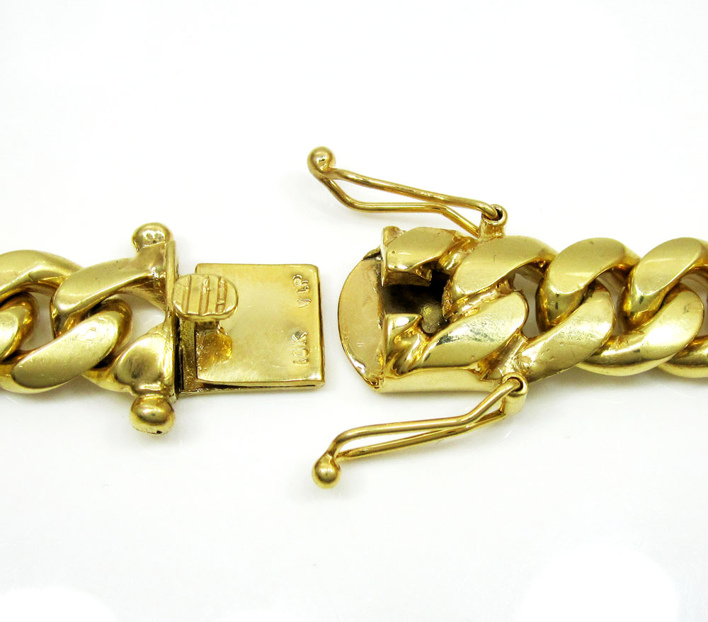 10k yellow gold thick miami link chain 30 inch 12.4mm