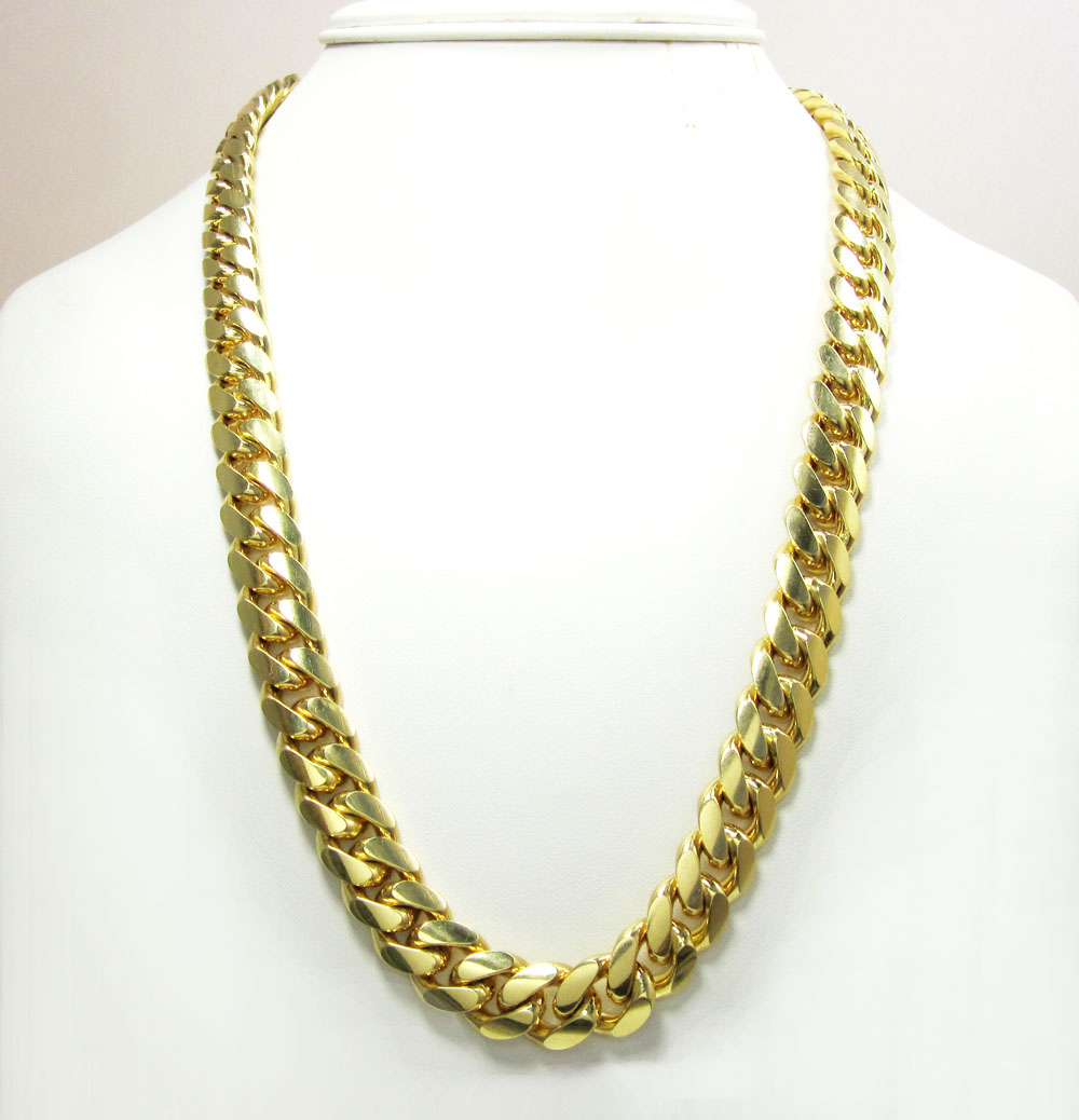 10k yellow gold thick miami link chain 30 inch 12.9mm