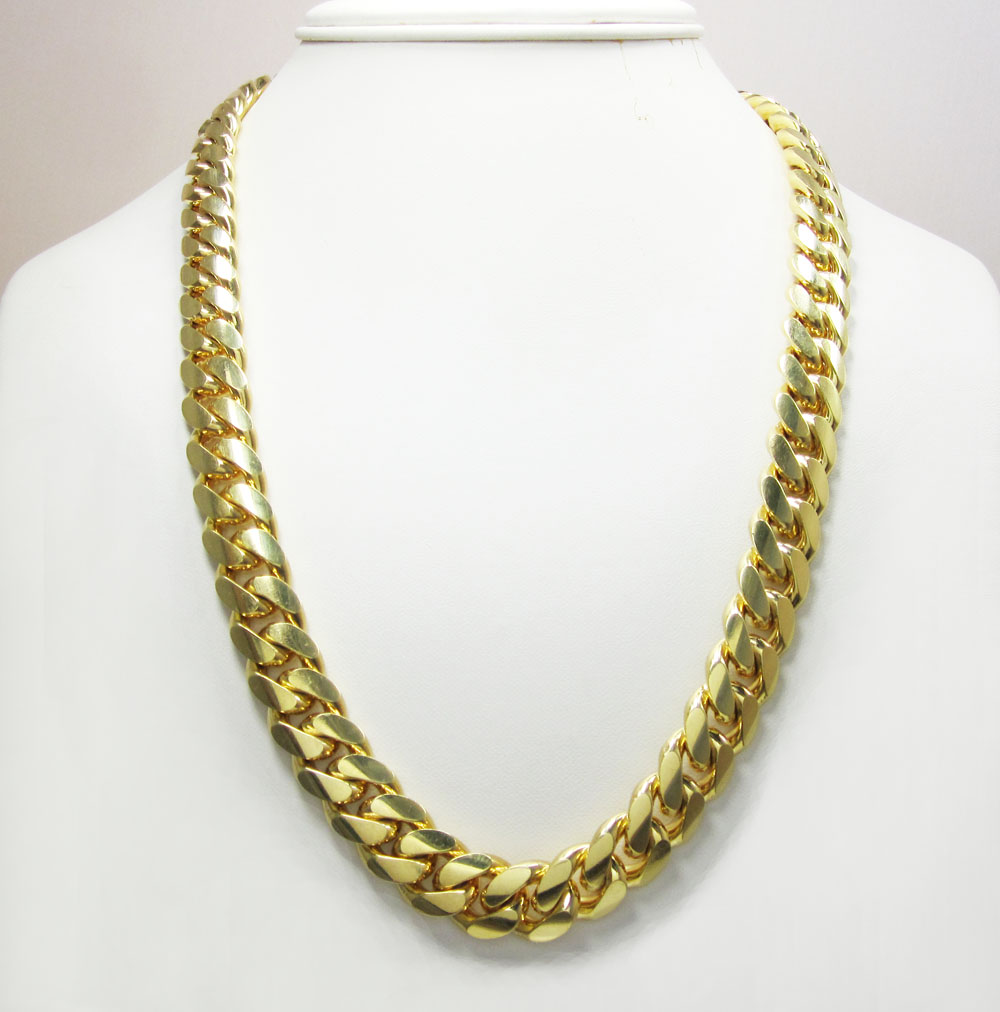 10k yellow gold thick miami link chain 20-30 inch 14mm