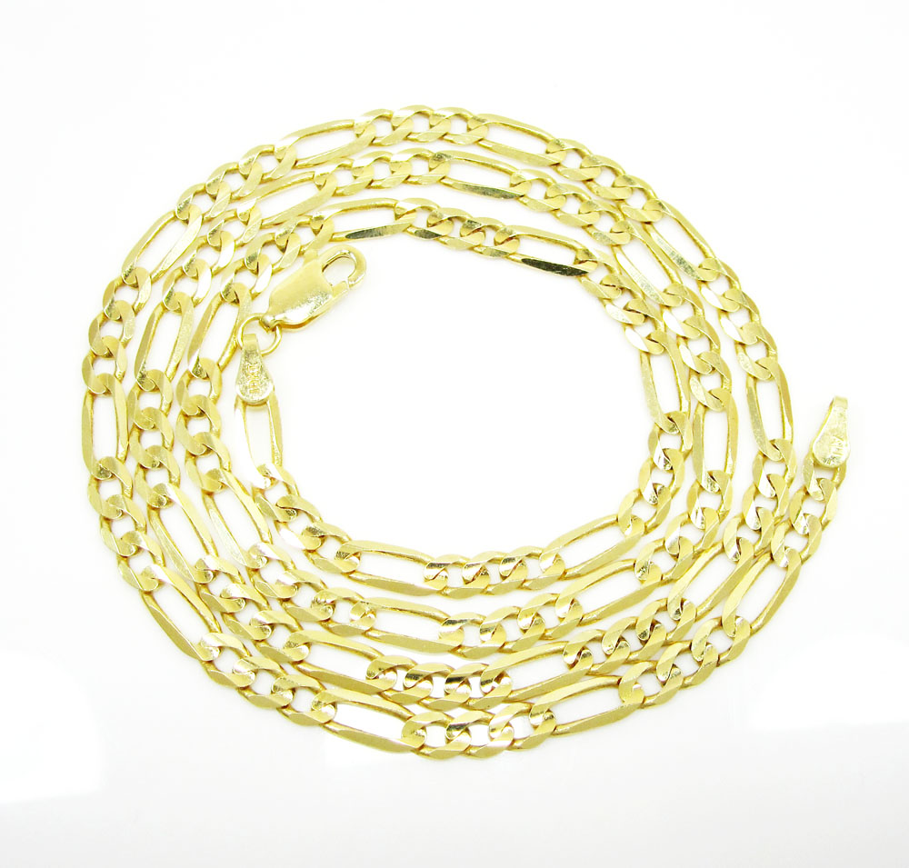10k yellow gold solid figaro link chain 20-24 inches 3.6mm