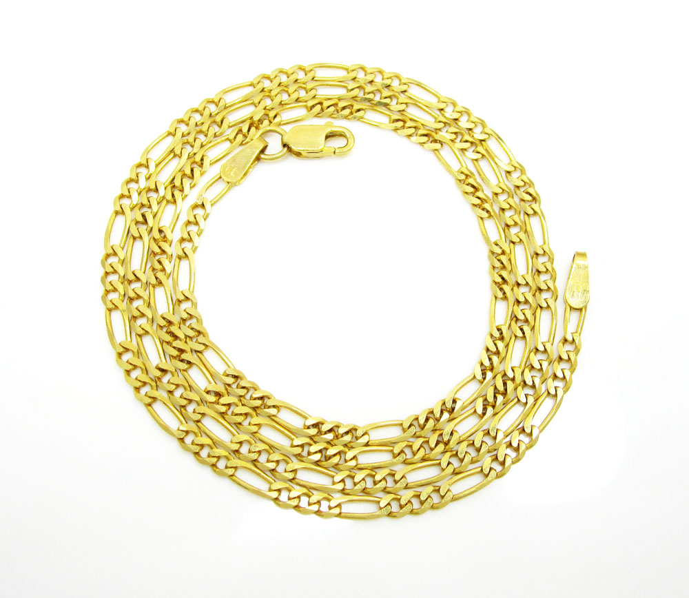 10k yellow gold solid figaro link chain 18-24 inch 2.2mm
