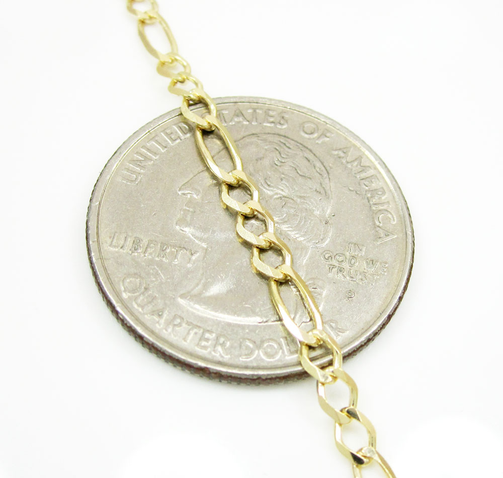 10k yellow gold solid figaro link chain 16-24 inch 2.8mm