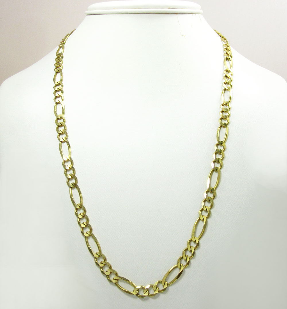 10k yellow gold solid figaro link chain 30-36 inch 6.5mm