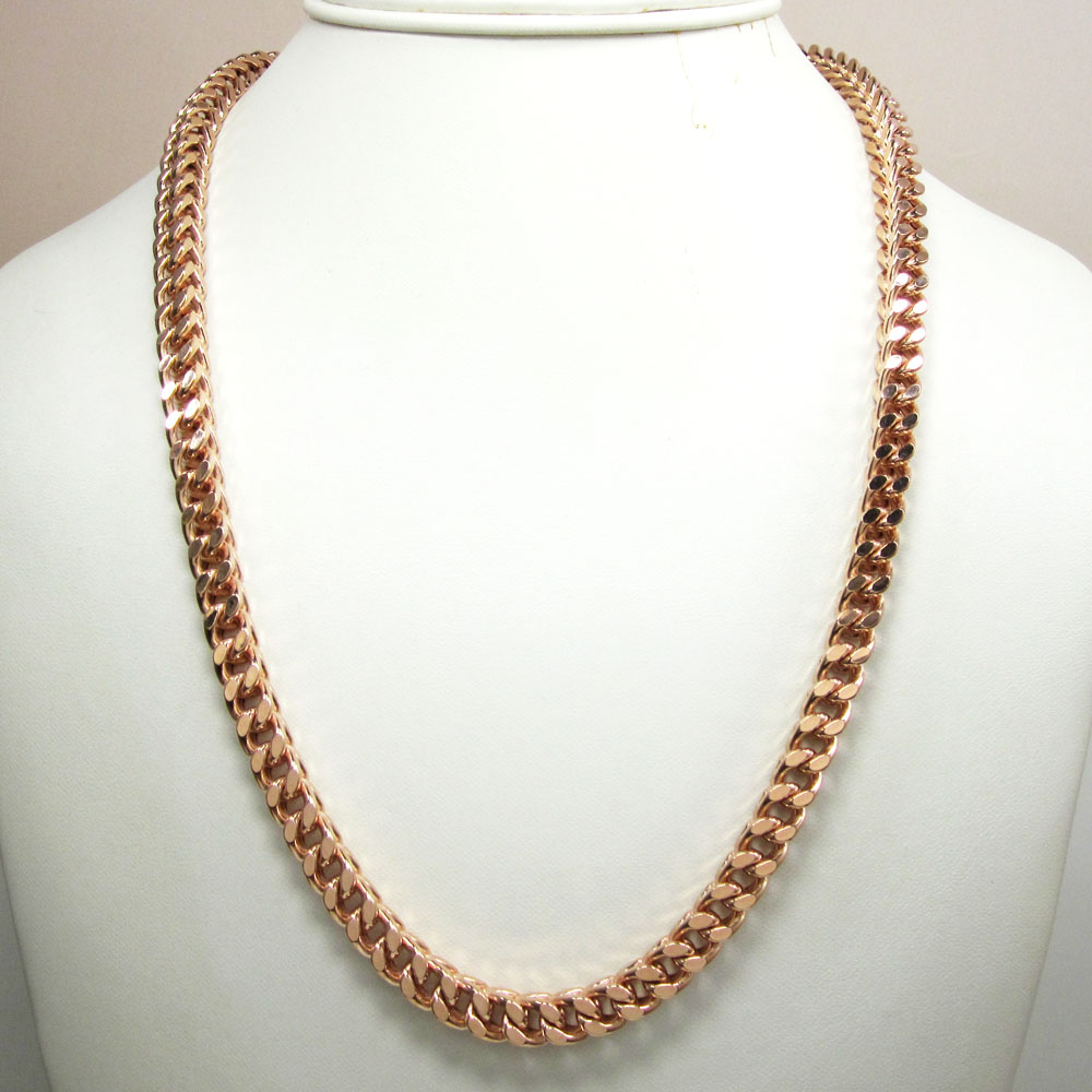 925 rose sterling silver franco link chain 30 inch 6.7mm