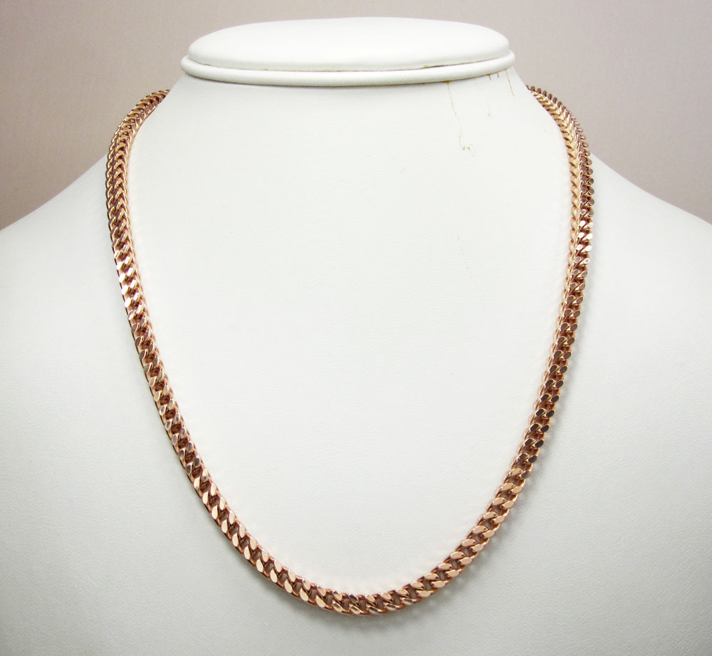 925 rose sterling silver franco link chain 28 inch 4mm
