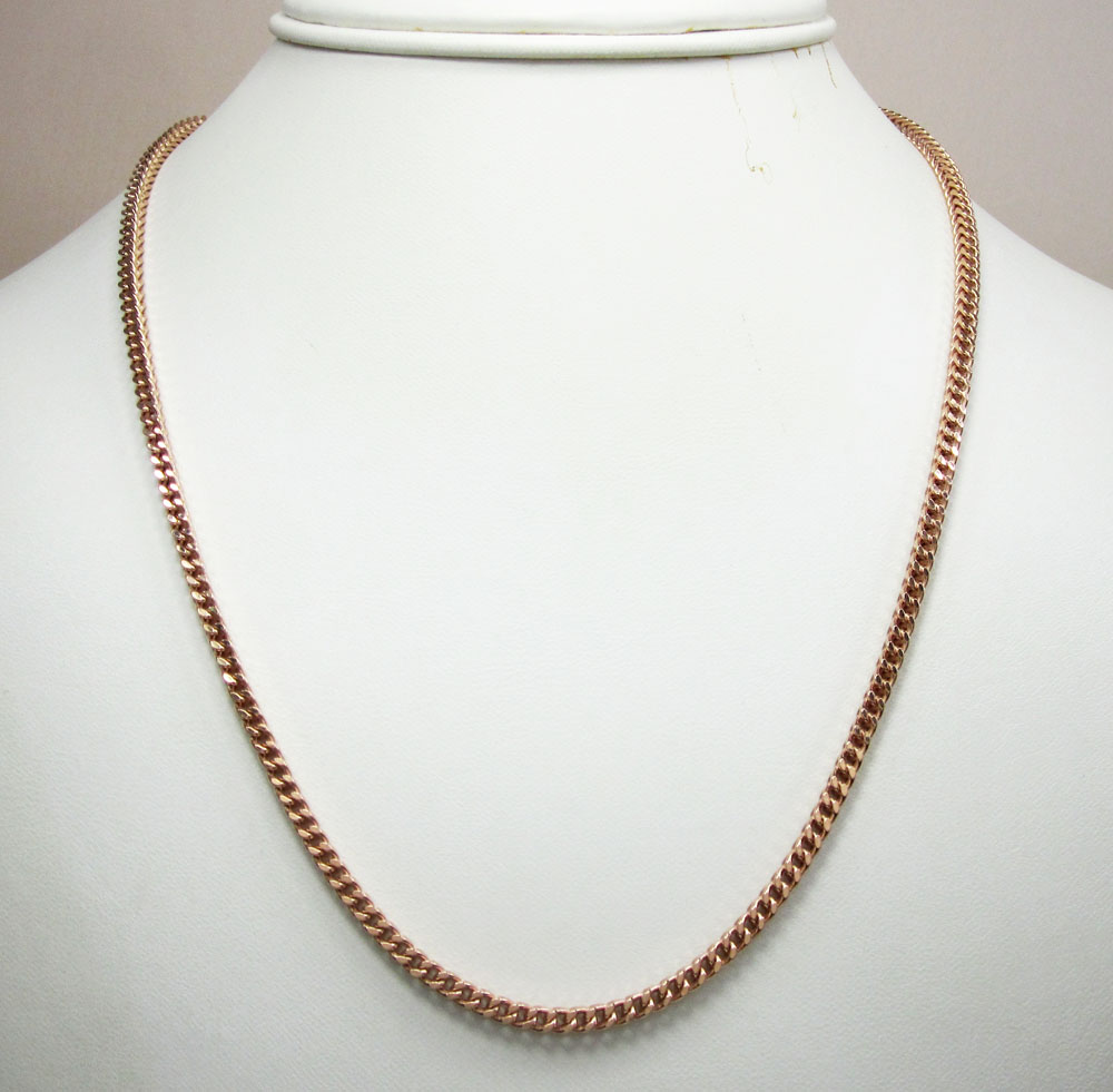 925 rose sterling silver franco link chain 30 inch 2.6mm
