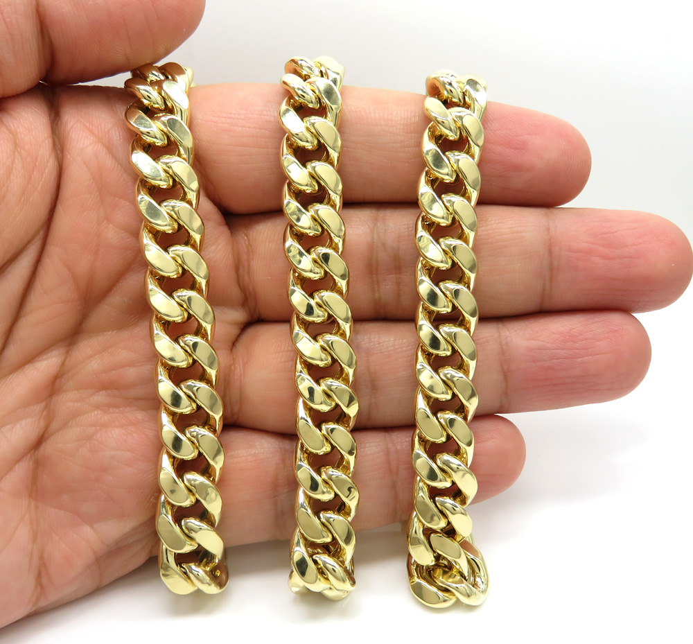 10k yellow gold hollow miami link chain 22-38 inch 11mm