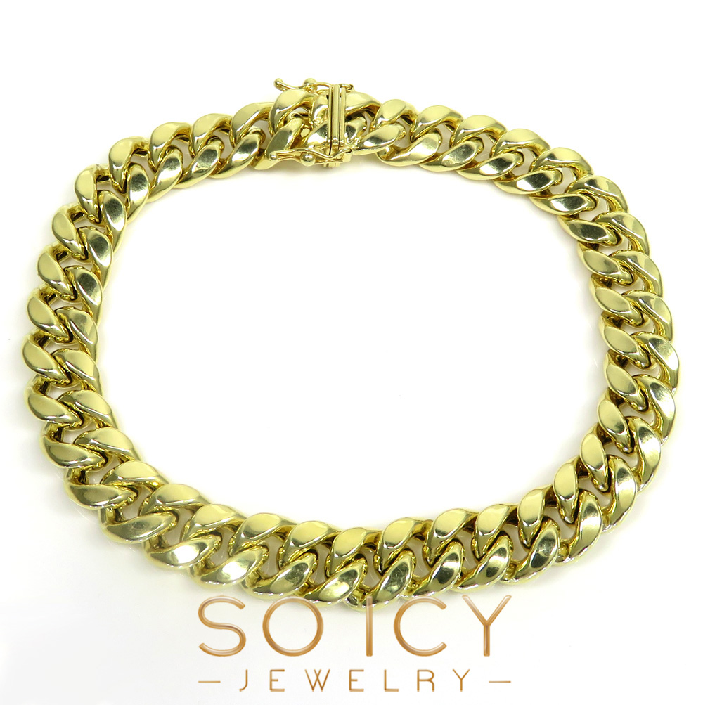 10k yellow gold hollow miami bracelet 8.50 inch 9.5mm