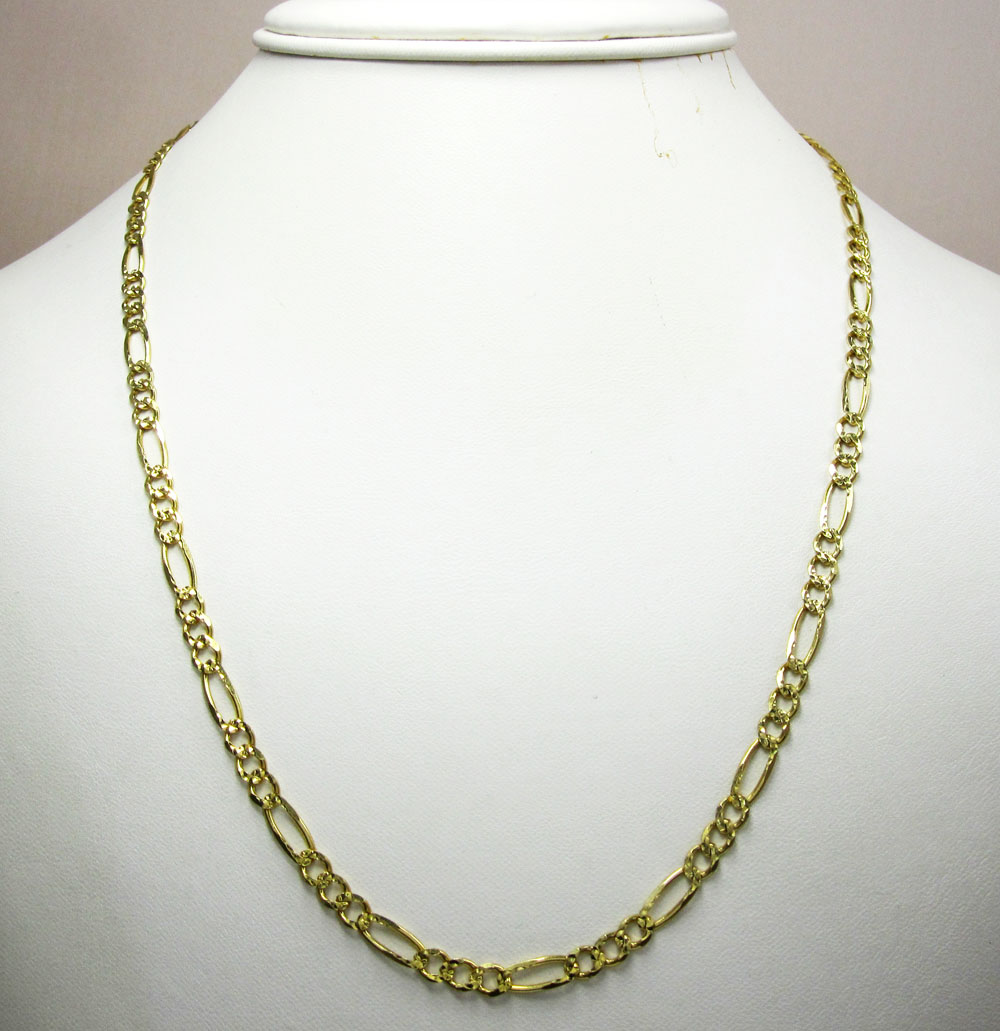 10k yellow gold diamond cut figaro link chain 26 inch 4.3mm