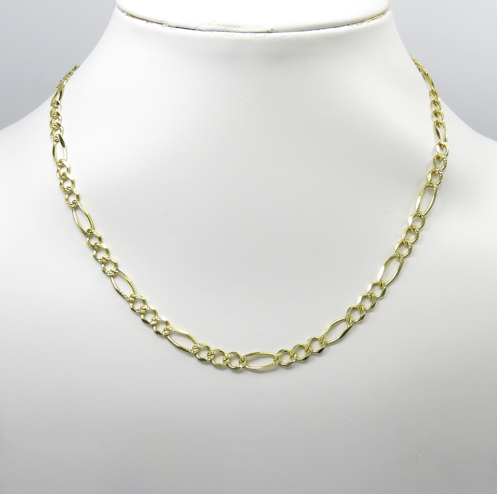 10k yellow gold diamond cut figaro link chain 26 inch 5.4mm