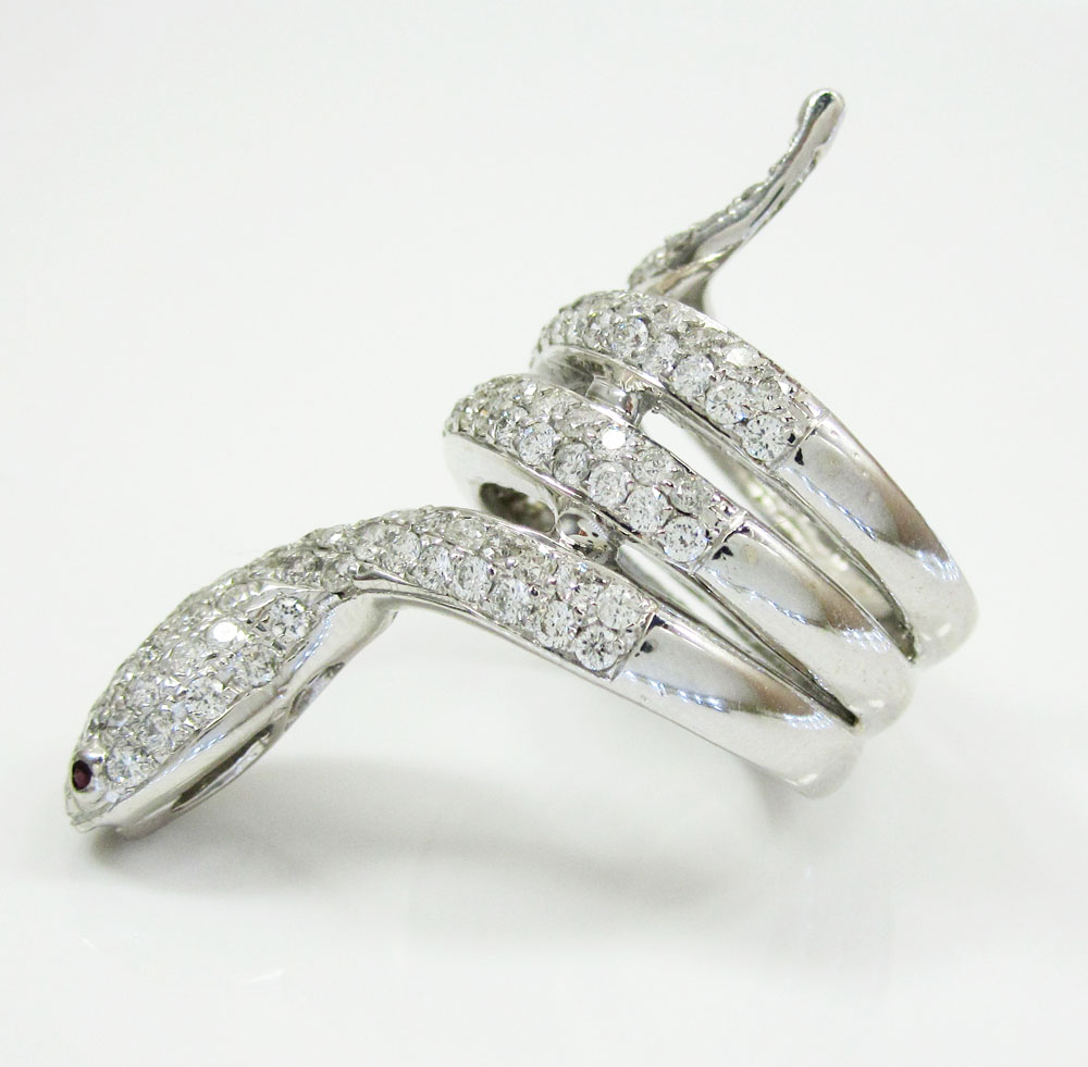 14k white gold round diamond snake ring 2.00ct