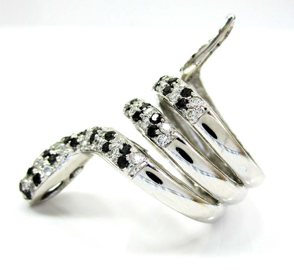 14k white gold round diamond snake ring 2.38ct