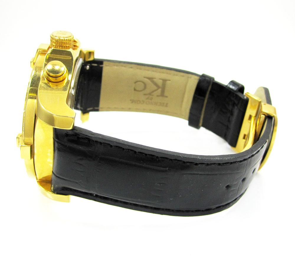 Techno com by kc yellow case big bezel diamond watch 2.00ct