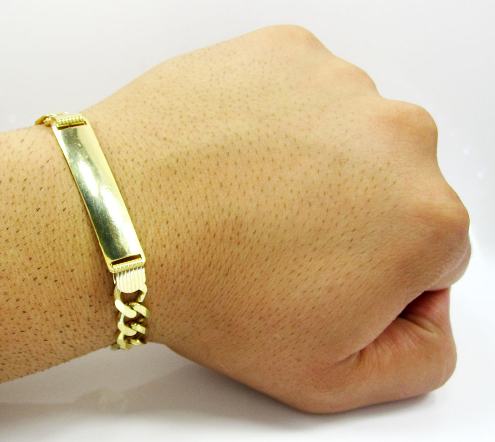 10k yellow gold figaro id bracelet 9 inch 8mm