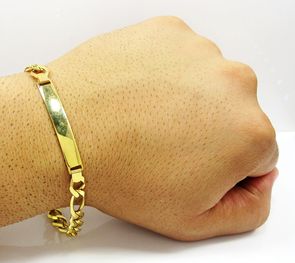 10k yellow gold figaro id bracelet 9.25 inches 8mm