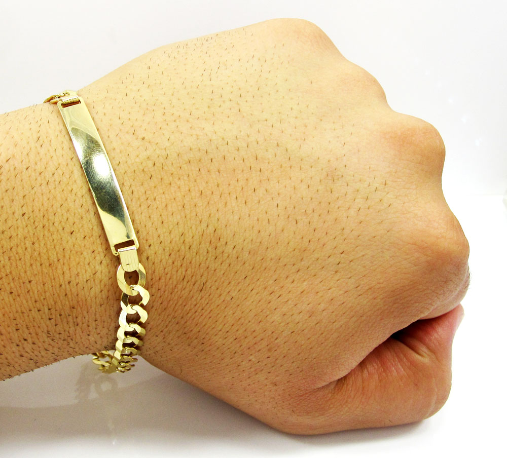 10k yellow gold cuban id bracelet 8.75 inch 7.2mm